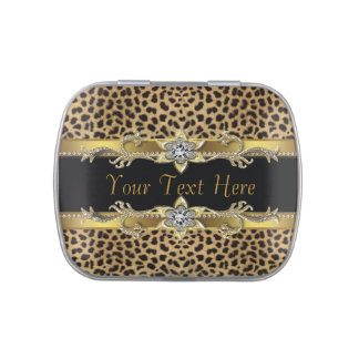 Elegant Black and Gold Leopard Jelly Belly Candy Tin