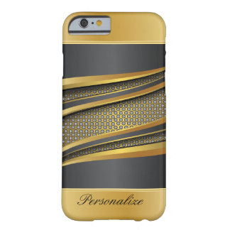 Elegant Black and Gold Metallic Mesh Design Barely There iPhone 6 Case