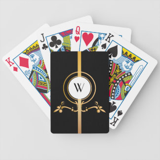 Elegant Black and Gold Monogram Design | Bicycle Playing Cards