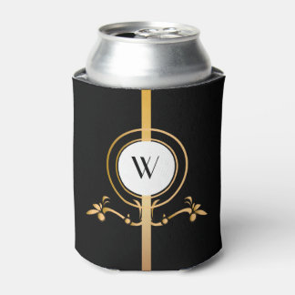 Elegant Black and Gold Monogram Design | Can Cooler