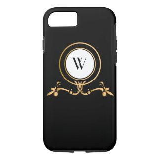 Elegant Black and Gold Monogram Design | iPhone 8/7 Case