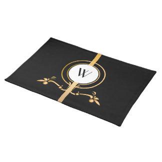 Elegant Black and Gold Monogram Design   Placemat