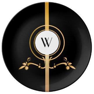 Elegant Black and Gold Monogram Design | Plate