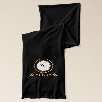 Elegant Black and Gold Monogram Design | Scarf