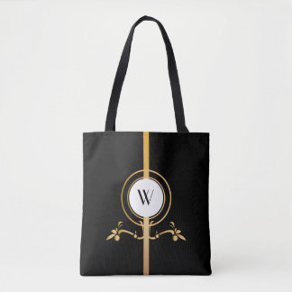 Elegant Black and Gold Monogram Design | Tote Bag