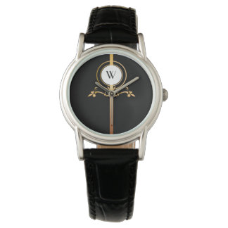 Elegant Black and Gold Monogram Design | Watch