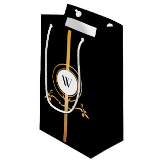 Elegant Black and Gold Monogram | Gift bag