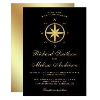 Elegant Black and Gold Nautical Compass Wedding Card