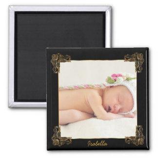 Elegant Black and Gold Ornate Photo Frame Magnet