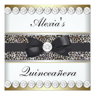 Elegant Black and Gold Quinceanera 13 Cm X 13 Cm Square Invitation Card
