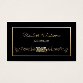 Elegant Black and Gold Roses Retail Sales Manager Business Card