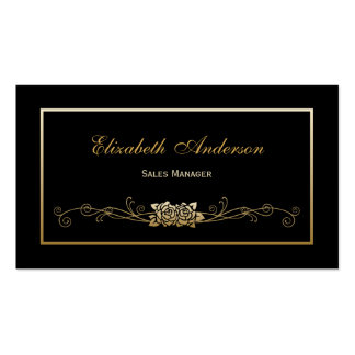 Elegant Black and Gold Roses Retail Sales Manager Pack Of Standard Business Cards