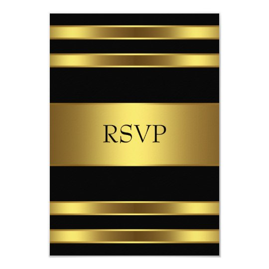 Elegant Black and Gold RSVP Card