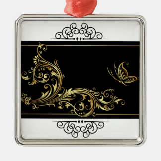 Elegant Black and Gold Silver-Colored Square Decoration