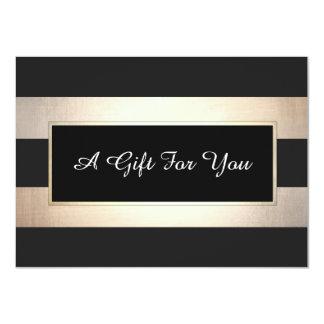 Elegant Black and Gold Stripes Gift Certificate Card
