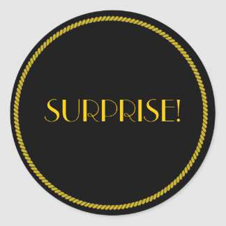 Elegant Black and Gold SURPRISE! Classic Round Sticker