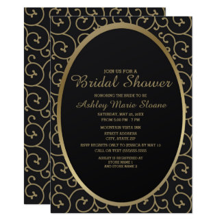 Elegant Black and Gold Swirls Bridal Shower Card
