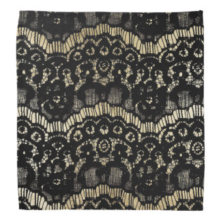 Elegant black and gold vintage french floral lace bandana