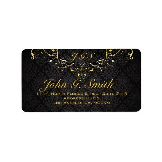 Elegant Black And Gold Vintage Gold Lace Frame Address Label