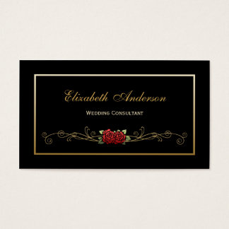 Elegant Black and Gold Wedding Consultant Red Rose Business Card