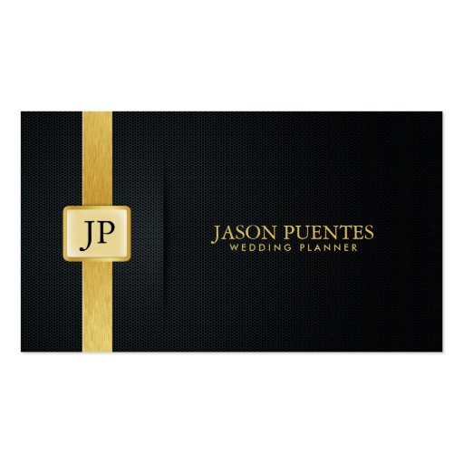 Elegant Black and Gold Wedding Planner Business Card