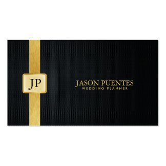 Elegant Black and Gold Wedding Planner Pack Of Standard Business Cards