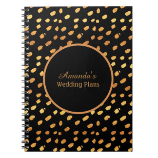Elegant Black and Gold Wedding Plans Journal