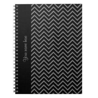 Elegant black and gray chevron pattern notebook