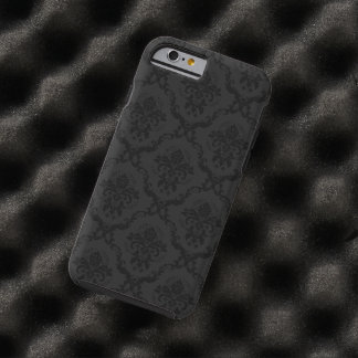 Elegant Black And Gray Floral Damasks Tough iPhone 6 Case