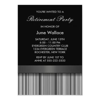 Elegant Black and Gray Stripe Retirement Party 13 Cm X 18 Cm Invitation Card