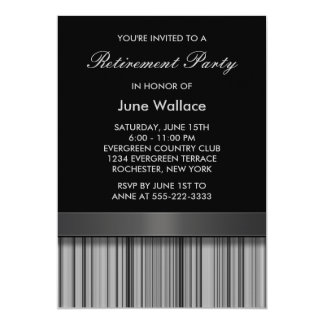 Elegant Black and Gray Stripe Retirement Party Card