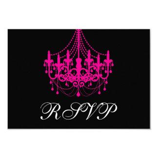 Elegant Black and Hot Pink Chandelier RSVP Card 9 Cm X 13 Cm Invitation Card