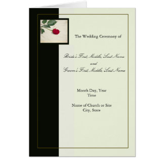Elegant Black and Ivory Wedding Program Template