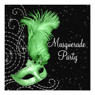 Elegant Black and Lime Green Masquerade Party 13 Cm X 13 Cm Square Invitation Card