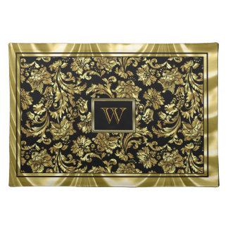 Elegant Black And Metallic Gold Damasks Placemat