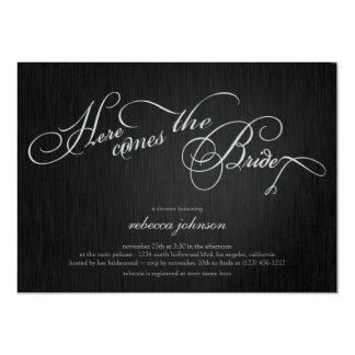 Elegant Black and Metallic Silver - Bridal Shower 11 Cm X 16 Cm Invitation Card