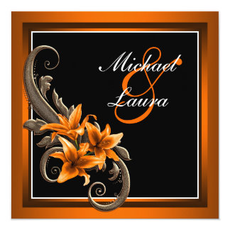 Elegant Black and Orange Asiatic Lily Wedding Card
