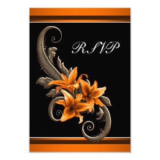Elegant Black and Orange Asiatic Lily Wedding Custom Invitations