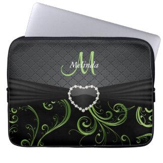 Elegant Black and Peridot Green Floral Pattern Laptop Sleeve