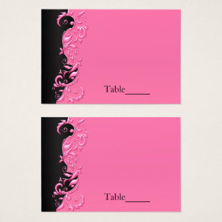 Elegant Black and Pink Florid Wedding Escort Cards