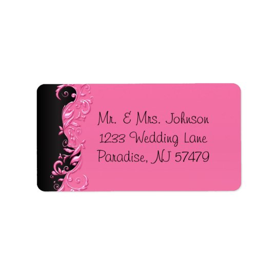 Elegant Black and Pink Florid Wedding Label
