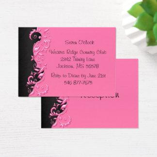 Elegant Black and Pink Florid Wedding Reception Business Card