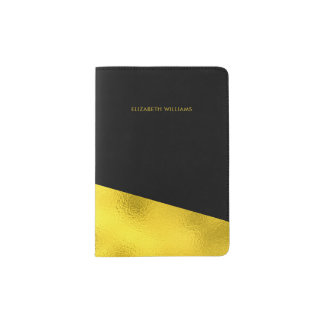 Elegant Black and Printed Gold Texture Passport Holder