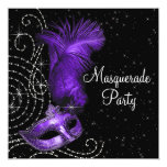 Elegant Black and Purple  Masquerade Party Custom Invitations