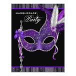 Elegant Black and Purple Masquerade Party Invites