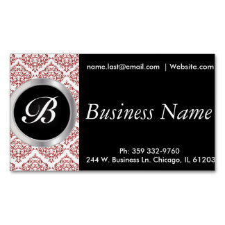 Elegant Black and Red Damask Magnetic Business Card