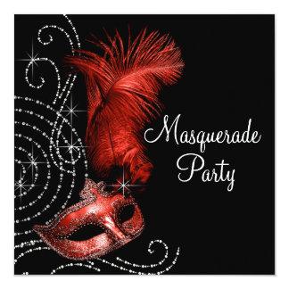 Elegant Black and Red Masquerade Party 13 Cm X 13 Cm Square Invitation Card