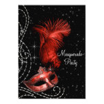 Elegant Black and Red Masquerade Party Custom Invitation