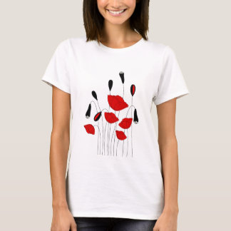 Elegant Black and Red Poppies Women's T Shirts