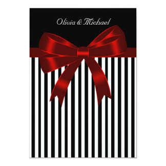 Elegant Black and Red Stripe Wedding 13 Cm X 18 Cm Invitation Card